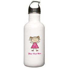 Pink Stick Figure Girl Water Bottle