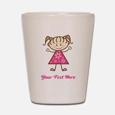 Pink Stick Figure Girl Shot Glass