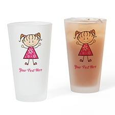 Pink Stick Figure Girl Drinking Glass