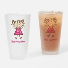 Pink Stick Figure Girl Drinking Glass