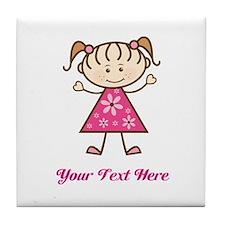 Pink Stick Figure Girl Tile Coaster
