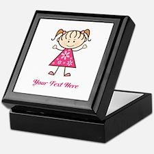 Pink Stick Figure Girl Keepsake Box