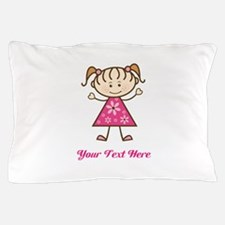 Pink Stick Figure Girl Pillow Case