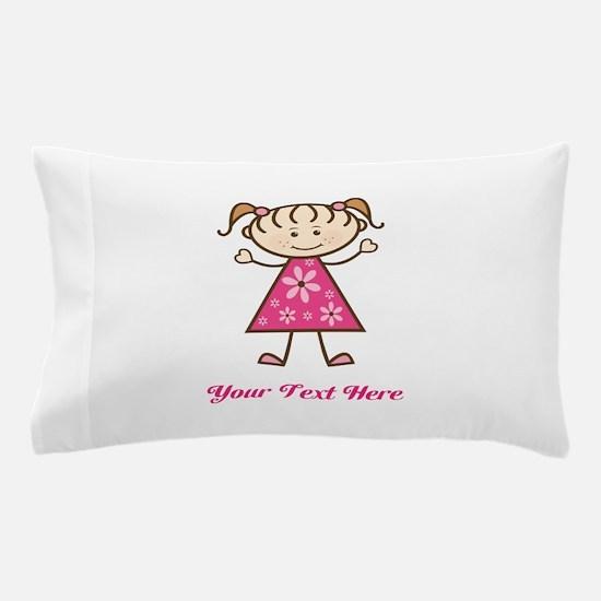 Pink Stick Figure Girl Pillow Case