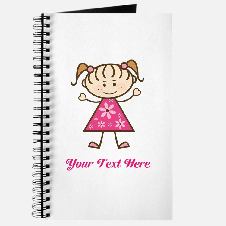 Pink Stick Figure Girl Journal