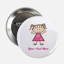 """Pink Stick Figure Girl 2.25"""" Button (100 pack)"""