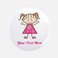 "Pink Stick Figure Girl 3.5"" Button (100 pack)"