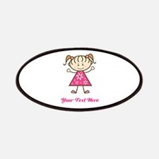 Pink Stick Figure Girl Patches
