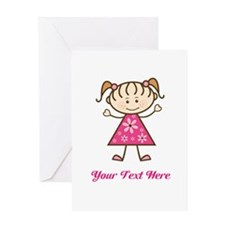 Pink Stick Figure Girl Greeting Card