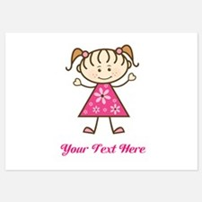 Pink Stick Figure Girl 5x7 Flat Cards