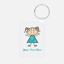 Teal Stick Figure Girl Keychains