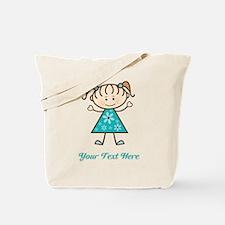 Teal Stick Figure Girl Tote Bag