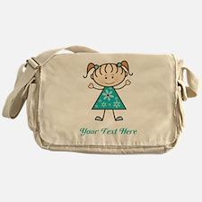 Teal Stick Figure Girl Messenger Bag