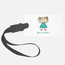 Teal Stick Figure Girl Luggage Tag
