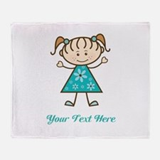 Teal Stick Figure Girl Throw Blanket