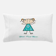 Teal Stick Figure Girl Pillow Case