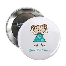 "Teal Stick Figure Girl 2.25"" Button"