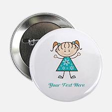 "Teal Stick Figure Girl 2.25"" Button"