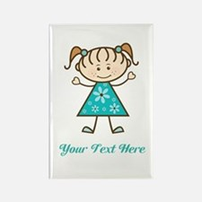 Teal Stick Figure Girl Rectangle Magnet (10 pack)