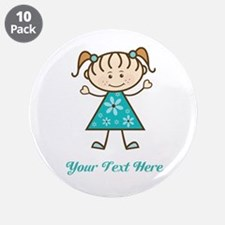 "Teal Stick Figure Girl 3.5"" Button (10 pack)"