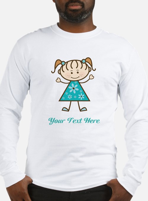 Teal Stick Figure Girl Long Sleeve T-Shirt