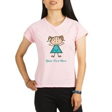 Teal Stick Figure Girl Performance Dry T-Shirt