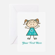 Teal Stick Figure Girl Greeting Card