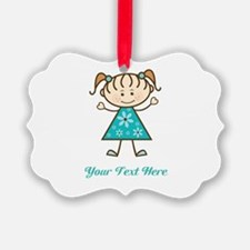 Teal Stick Figure Girl Ornament