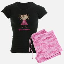 Pink Stick Figure Ethnic Girl Pajamas