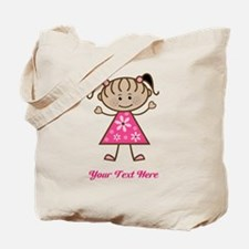 Pink Stick Figure Ethnic Girl Tote Bag