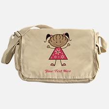 Pink Stick Figure Ethnic Girl Messenger Bag