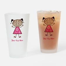 Pink Stick Figure Ethnic Girl Drinking Glass