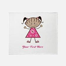 Pink Stick Figure Ethnic Girl Throw Blanket