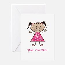 Pink Stick Figure Ethnic Girl Greeting Cards (Pk o