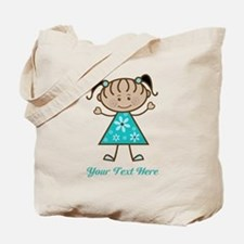 Teal Stick Figure Ethnic Girl Tote Bag