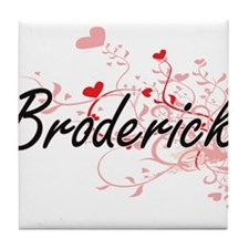 Broderick Artistic Design with Hearts Tile Coaster