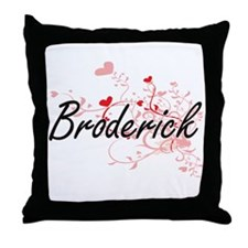 Broderick Artistic Design with Hearts Throw Pillow