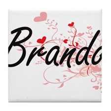 Brando Artistic Design with Hearts Tile Coaster