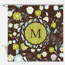 Retro Floral Pattern Monogrammed Shower Curtain