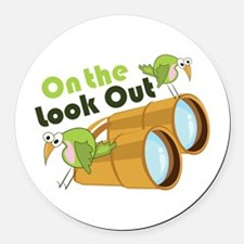 Look Out Round Car Magnet