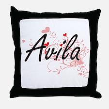 Avila Artistic Design with Hearts Throw Pillow