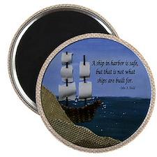 Ship in Harbor Original Art Collage Magnet
