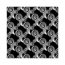 White Swirls on Black Queen Duvet