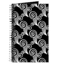 White Swirls on Black Journal