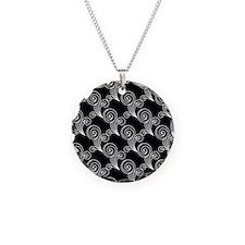 White Swirls on Black Necklace