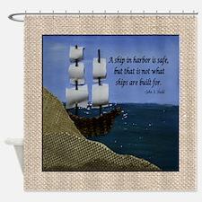 Ship in Harbor Original Art Collage Shower Curtain