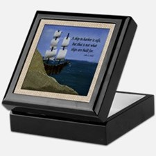 Ship in Harbor Original Art Collage Keepsake Box