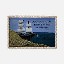 Ship in Harbor Original Art Colla Rectangle Magnet