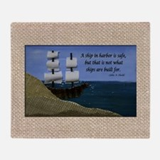 Ship in Harbor Original Art Collage Throw Blanket