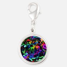 Rainbow Acid Swirls Silver Round Charm